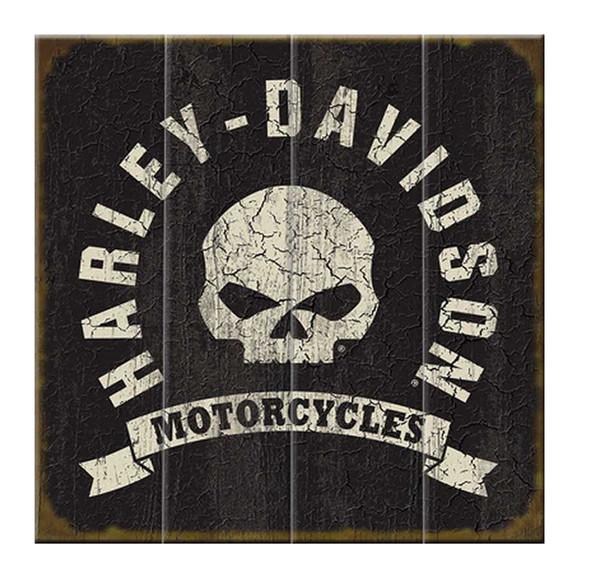 Harley-Davidson Willie G. Skull HD Motorcycles Wood Sign, 18x18in W10-WILLG-HARL - Wisconsin Harley-Davidson