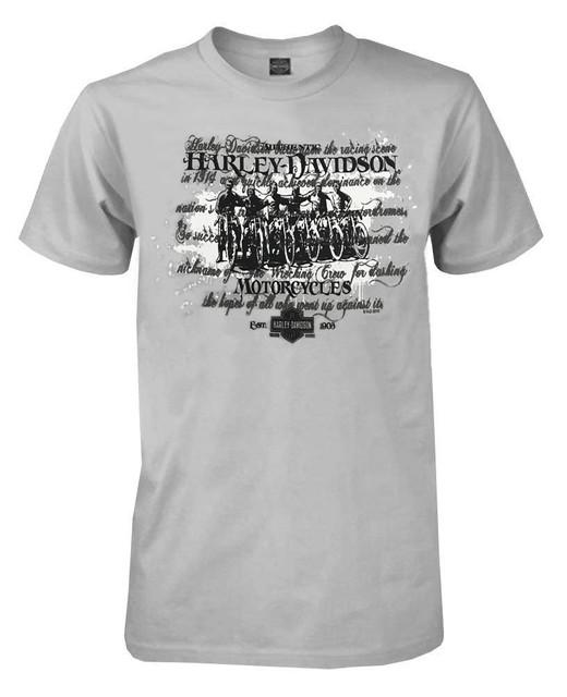 Harley-Davidson Men's Vintage Motorcycle Crew Script Short Sleeve Tee, Gray - Wisconsin Harley-Davidson