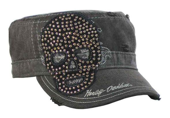 Harley-Davidson Women's Painter's Cap, Studded Star Skull, Charcoal PC10730 - Wisconsin Harley-Davidson