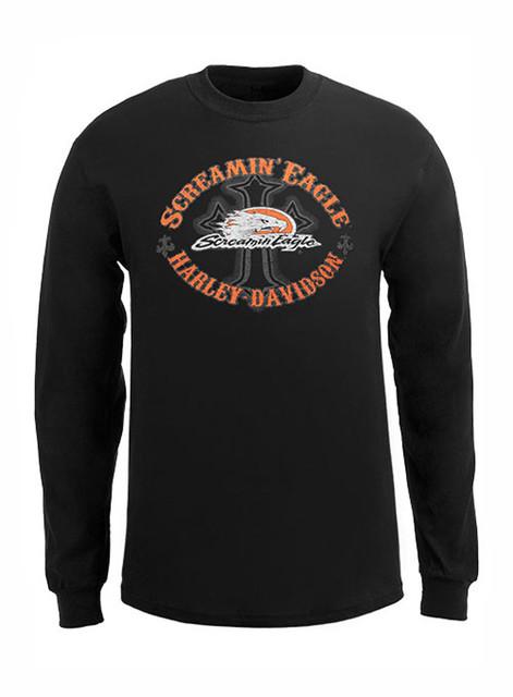 Harley-Davidson Men's Screamin' Eagle Shirt, Long Sleeve Eagle Cross HARLMT0215 - Wisconsin Harley-Davidson