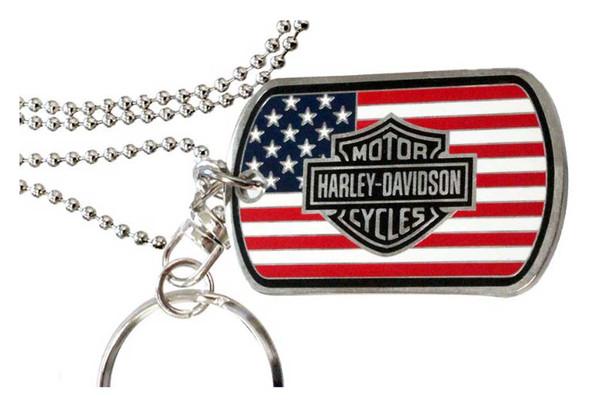 Harley-Davidson Military Flag Bar & Shield Dog Tag, Chain & Key Ring 8003494 - Wisconsin Harley-Davidson