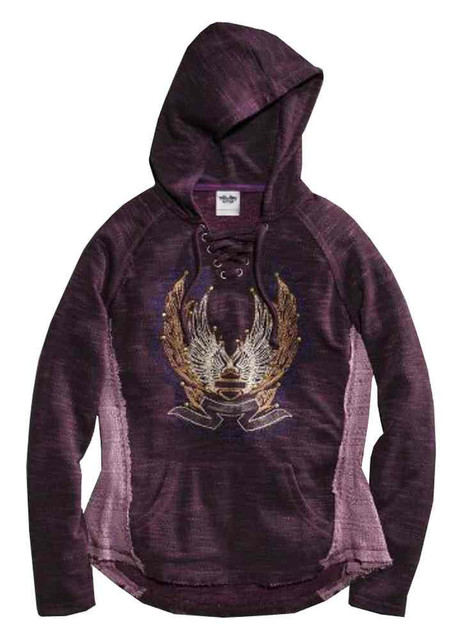 Harley-Davidson Women's Embroidered Sweater Lace Inset Pullover 96151-16VW - Wisconsin Harley-Davidson