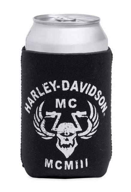 Harley-Davidson Distressed Cyclops Skull Graphic Can Cooler, Black 96874-15V - Wisconsin Harley-Davidson