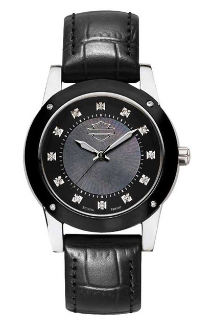 Harley-Davidson Women's Watch, Mother-Of-Pearl, Black Leather Strap 78R100 - Wisconsin Harley-Davidson