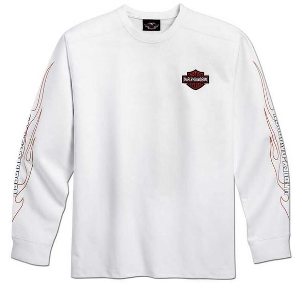 Harley-Davidson Men's Bar & Shield Flames Long Sleeve Tee White 99125-10VM - Wisconsin Harley-Davidson