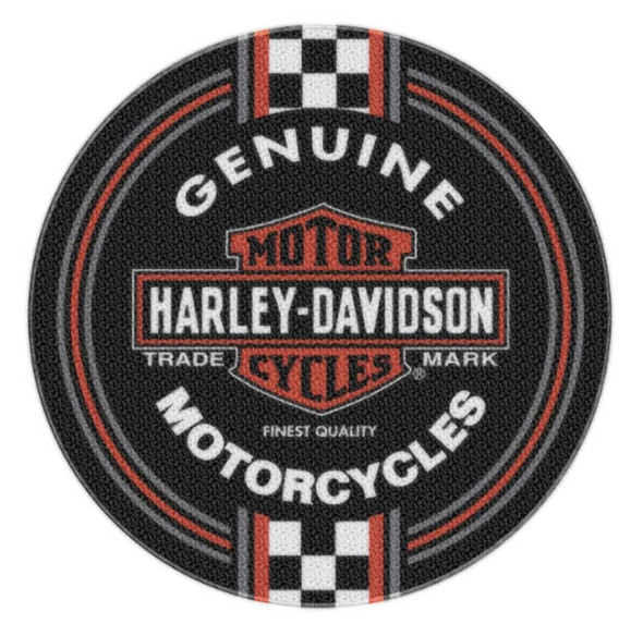 Harley-Davidson Winner Circle Trademark Round Rug, 22.5 inch Black NW080201 - Wisconsin Harley-Davidson