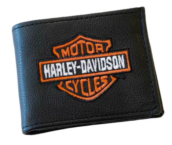 Harley-Davidson Men's Embroidered Bar & Shield Billfold Wallet Black FB808H-2 - Wisconsin Harley-Davidson