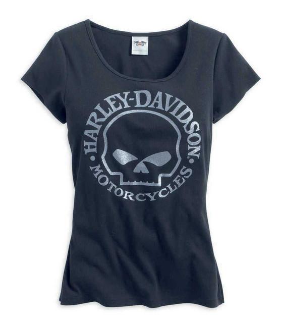 Harley-Davidson Women's Scoop Neck Glitter Skull Tee T-Shirt, Black 99146-14VW - Wisconsin Harley-Davidson