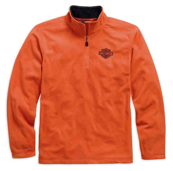 Harley-Davidson Men's 1/4-Zip Long Sleeve Logo Fleece Shirt, Orange. 99002-15VM - Wisconsin Harley-Davidson