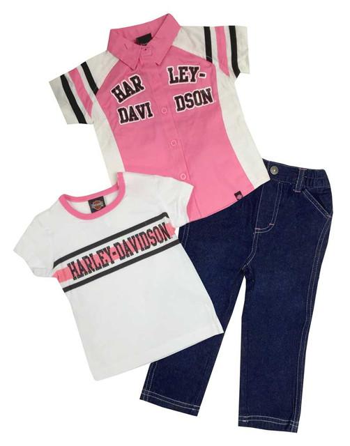 Harley-Davidson Little Girls' Glittery Denim Pant Set, 3 Piece Set, Pink 2020407 - Wisconsin Harley-Davidson