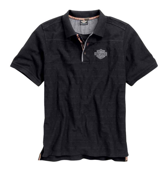 Harley-Davidson Men's Knit Polo Shirt, Jacquarded Stripe B&S, Black 96431-15VM - Wisconsin Harley-Davidson