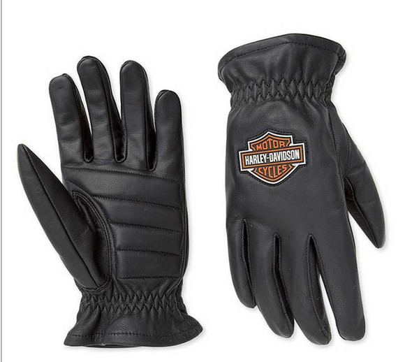 Harley-Davidson Men's Bar & Shield Stock Full-Finger Leather Gloves 98201-07VM - Wisconsin Harley-Davidson