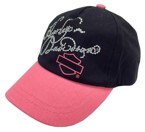 Harley-Davidson Little Girls' Studded Twill Baseball Cap, Pink & Black 0120102 - Wisconsin Harley-Davidson