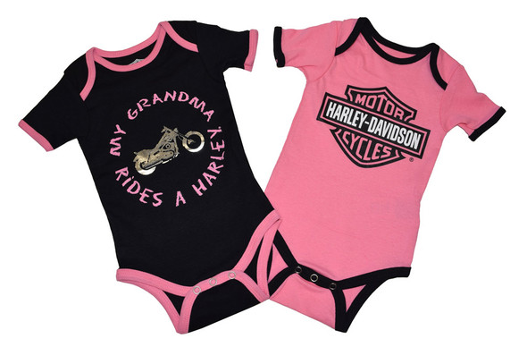 Harley-Davidson Baby Girls' Creeper Set, Infant Grandma Rides a Harley 3009503 - Wisconsin Harley-Davidson