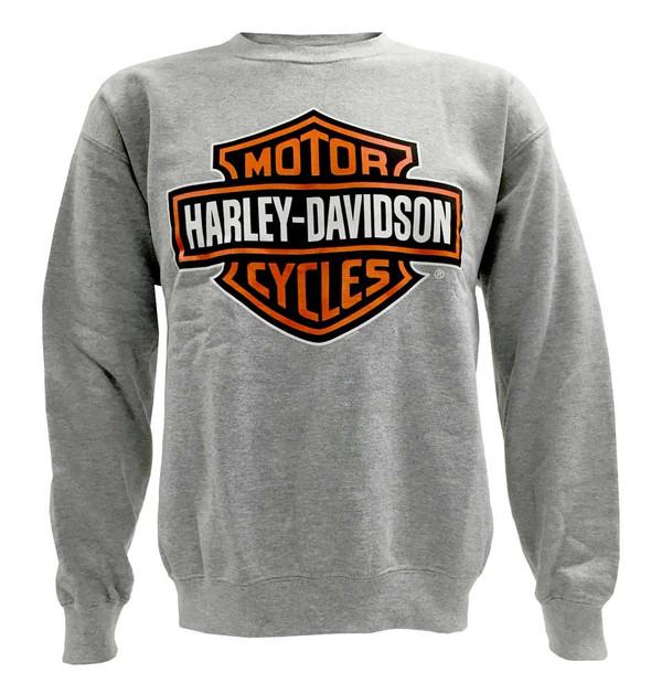 Harley-Davidson Men's Bar & Shield Pullover Crew Neck Sweatshirt, Gray 30296628 - Wisconsin Harley-Davidson