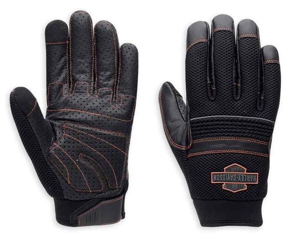 Harley-Davidson Mens Saddle Bar & Shield Mesh & Leather Gloves, Black 98364-15VM - Wisconsin Harley-Davidson