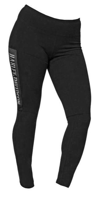 Harley-Davidson Women's Embellished H-D Script Mesh Patch Leggings, Black - Wisconsin Harley-Davidson