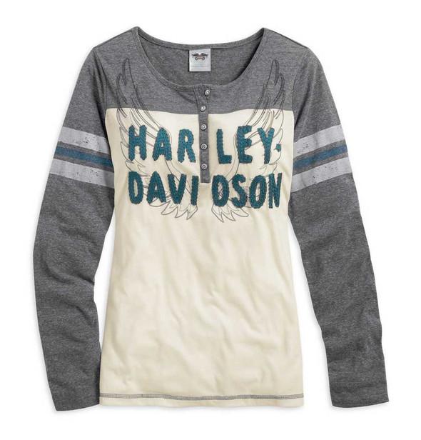 Harley-Davidson Womens Shirt, Long Sleeve Wings Henley, Colorblocked 96289-15VW - Wisconsin Harley-Davidson