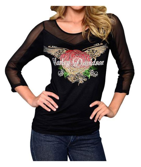 Harley-Davidson Women's Embellished Winged Rose 3/4 Sleeve Shirt, Black - Wisconsin Harley-Davidson