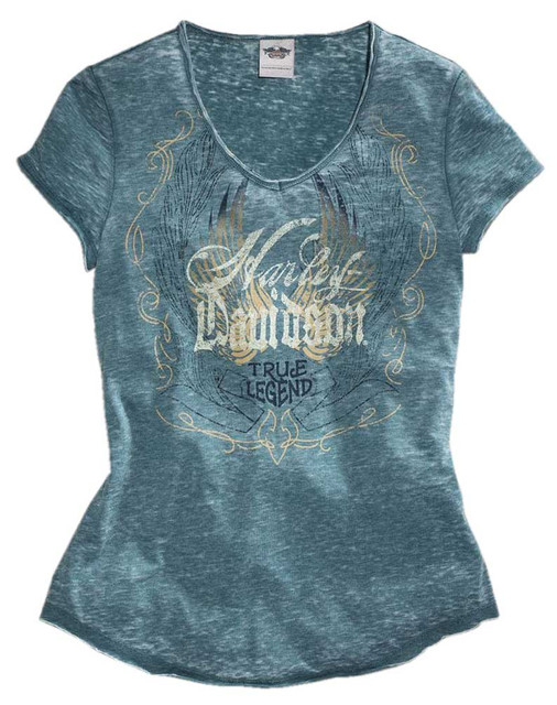 Harley-Davidson Women's True Legend Burnout Short Sleeve Tee, Blue 96174-16VW - Wisconsin Harley-Davidson