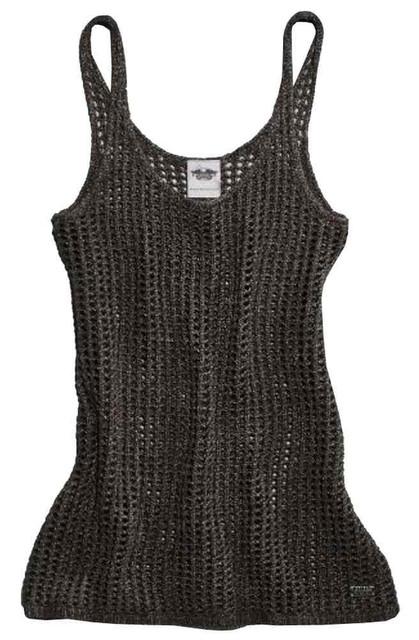 Harley-Davidson Women's Metallic Open Knit Sweater Tank Top, Black 96096-16VW - Wisconsin Harley-Davidson