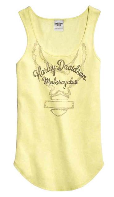 Harley-Davidson Women's Outline Graphic Sleeveless Tank Top, Yellow 96227-16VW - Wisconsin Harley-Davidson
