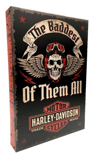 Harley-Davidson Baddest Of All Time Polish Aluminum Box Sign AC2BX-BADD-AD-HARL - Wisconsin Harley-Davidson