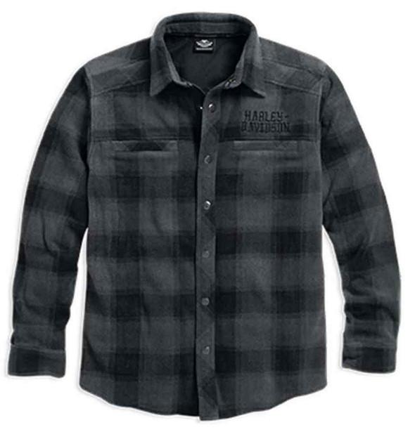 Harley-Davidson Men's Skull Flannel Fleece Shirt Jacket, Plaid. 96044-16VM - Wisconsin Harley-Davidson