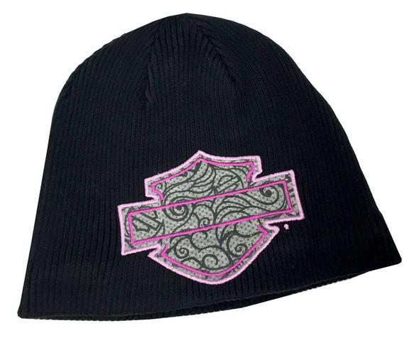Harley-Davidson Little Girls' Embroidered Bar & Shield Knit Beanie Cap, 7223573 - Wisconsin Harley-Davidson