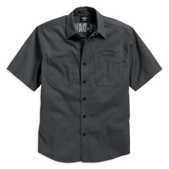 Harley-Davidson Men's  Flames Woven Shirt Short Sleeve, Grey. 99007-16VM - Wisconsin Harley-Davidson