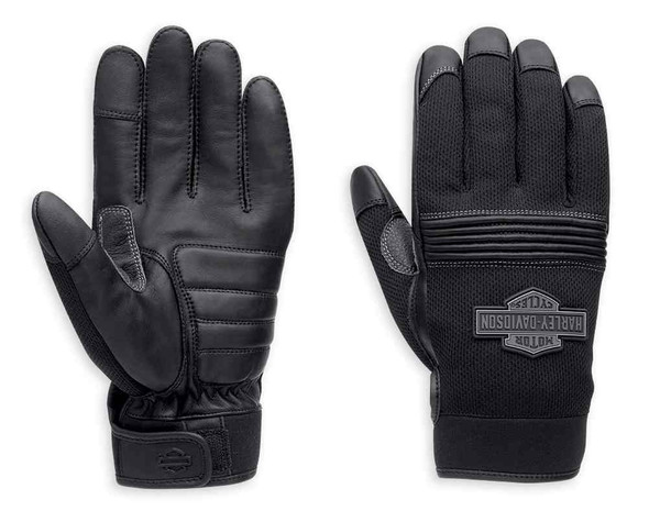 Harley-Davidson Men's Stark Bar & Shield Mesh & Leather Gloves, Black 98387-16VM - Wisconsin Harley-Davidson