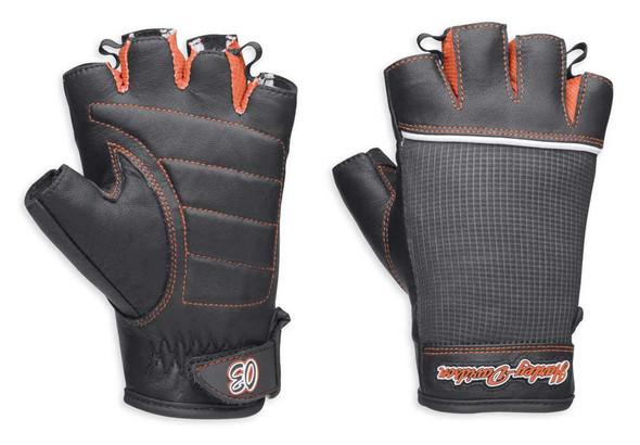 Harley-Davidson Women's Cora Leather/Mesh Fingerless Gloves, Black 98296-14VW - Wisconsin Harley-Davidson