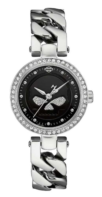 Harley-Davidson Women's Willie G Skull Crystal Embellished Watch, Silver 76L178 - Wisconsin Harley-Davidson