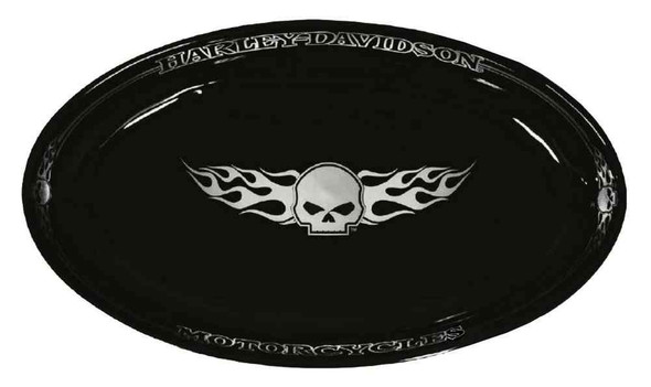 Harley-Davidson Flaming Willie G Skull Serving Ceramic Platter, Black HD-HD-904 - Wisconsin Harley-Davidson