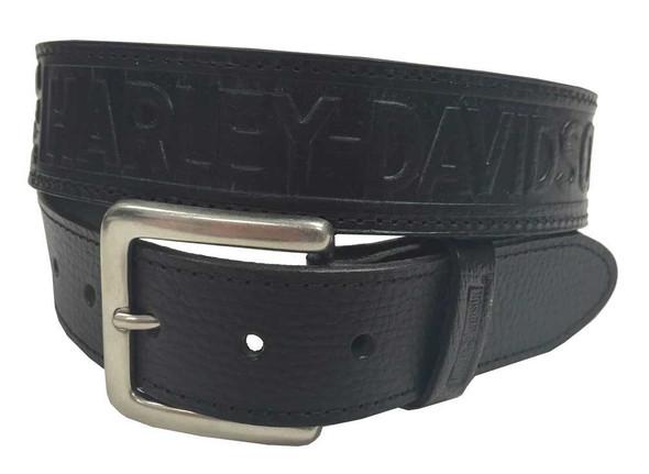 Harley-Davidson Men's Leather Money Belt, Embossed Winged Script, Black HMT - Wisconsin Harley-Davidson