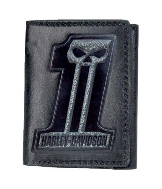 Harley-Davidson Men's Black Label #1 Skull Tri-Fold Wallet Black UN7524L-Black - Wisconsin Harley-Davidson