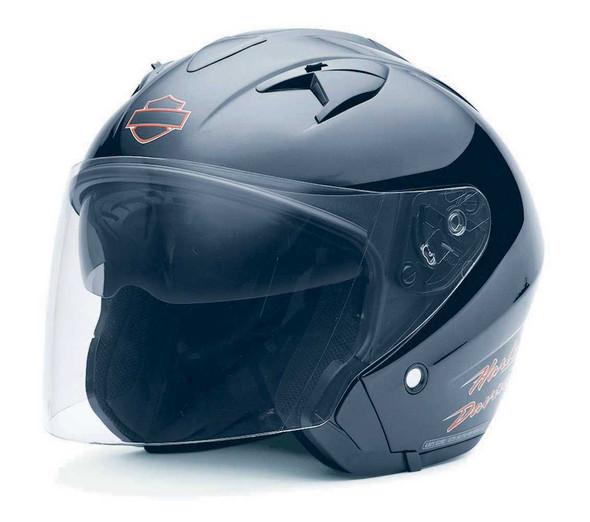 Harley-Davidson Womens 3/4 Helmet, Retractable Sun Shield, Black 98394-11VW - Wisconsin Harley-Davidson