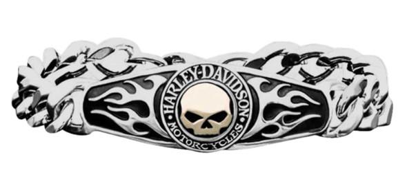 Harley-Davidson Men's ID Bracelet, Flames Willie G Skull 14kt Gold Inlay HMB0012 - Wisconsin Harley-Davidson
