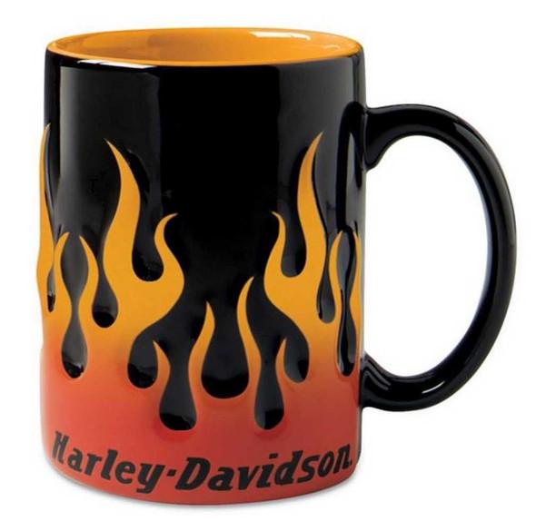 Harley-Davidson Sculpted Orange Flame Ceramic Coffee Mug, 15 oz Black 99219-16V - Wisconsin Harley-Davidson