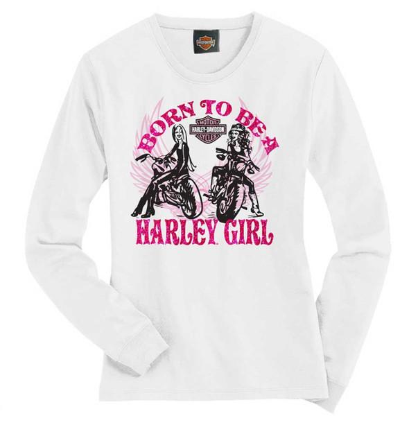 Harley-Davidson Big Girls' Tee, Long Sleeve Harley Girl Shirt, White 1540583 - Wisconsin Harley-Davidson