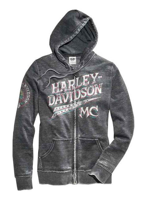Harley-Davidson Women's Zip Sweatshirt, Stars & Spade Burnout Hoodie 96363-15VW - Wisconsin Harley-Davidson