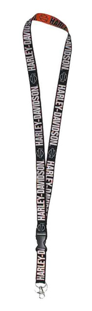 Harley-Davidson Lanyard, Repeated H-D Double Sided Script, Black LY02264 - Wisconsin Harley-Davidson