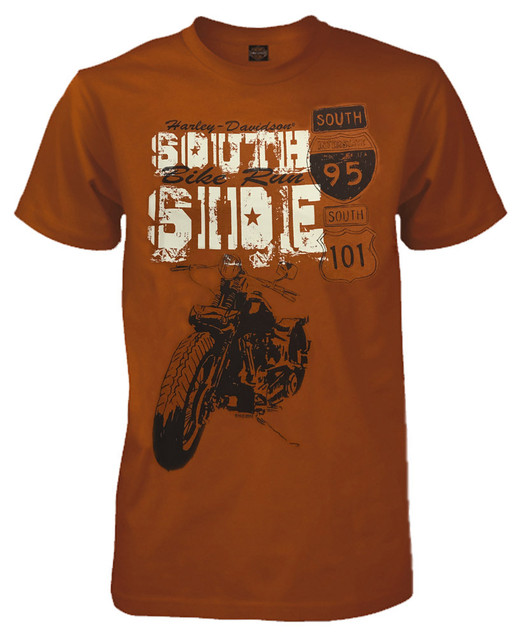 Harley-Davidson Men's South Side Bike Run Short Sleeve Graphic Tee, Orange - Wisconsin Harley-Davidson