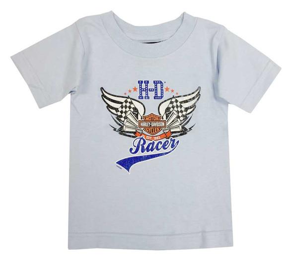 Harley-Davidson Little Boys'  Bar & Shield Racer Toddler Short Sleeve Tee, Blue - Wisconsin Harley-Davidson