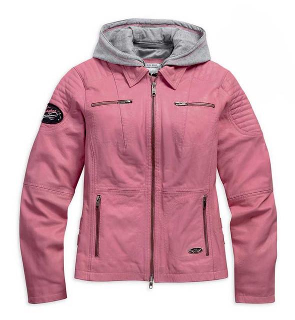 Harley-Davidson Women's Pink Label 3-in-1 Leather Jacket, Pink/Gray. 98090-15VW - Wisconsin Harley-Davidson