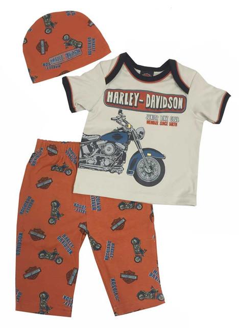 Harley-Davidson Baby Boys' Retro Motorcycle 3 Piece Set w/ Gift Bag 2551557 - Wisconsin Harley-Davidson