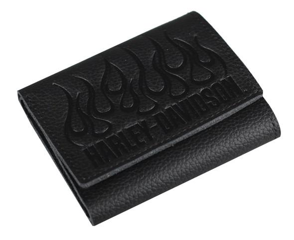 Harley-Davidson Mens Embossed Flames Trifold Leather Wallet, Black XML2584-BLACK - Wisconsin Harley-Davidson