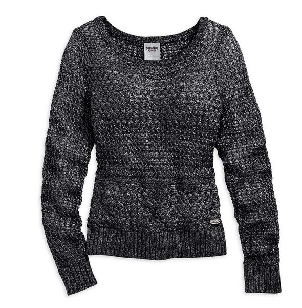 Harley-Davidson Women's Sweater, Loose Open Knit Shirt, Black 96285-15VW - Wisconsin Harley-Davidson