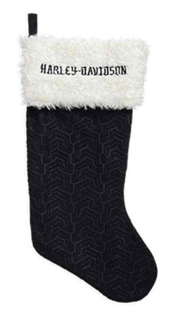 Harley-Davidson Holiday Fireplace Stocking w/ Faux Fur. Black/White. 96820-16V - Wisconsin Harley-Davidson