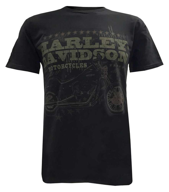 Harley-Davidson Men's Tee, Distressed Motorcycle Night Train Short Sleeve, Black - Wisconsin Harley-Davidson